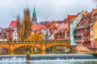 Old buildings and bridge. Nuremberg, Germany