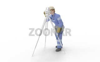 3d rendering of a man using a theodolite isolated in white studio