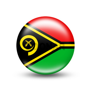 Vanuatu country flag in sphere with white shadow