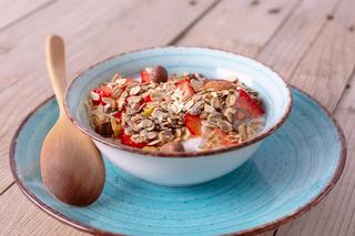 Fresh Strawberry yogurt and muesli bowl