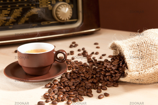 Fresh coffee with music in classic style