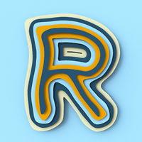 Colorful paper layers font Letter R 3D