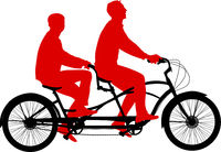 Silhouette of a tandem cyclist on a white background