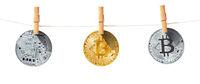Virtual crypto currency bitcoin laundering. Blockchain technology.