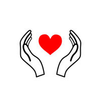 Hands hold a red heart, healthcare concept black outline icon on white
