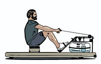 man on a rower