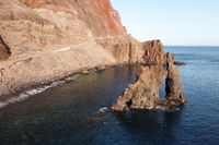 Natural Volcanic stone arch, Roque de Bonanza in El Hierro island, Canary Islands, Spain.