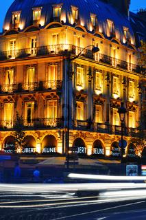 Paris by night on famous Boulevard Saint-Michel near Latin Quarter