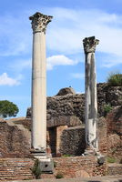 Columns of an ancient roman temple in Ostia Antica
