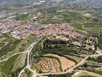 Aerial photography Montesa village countryside and ancient castle ruins. Spain