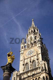 Mariensäule und Neues Rathaus, Innenstadt, München, Oberbayern, Bayern, Deutschland, Europa