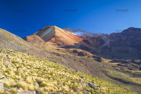 Scenic colored mountains near salt plateau Salar de Uyuni in Bolivia
