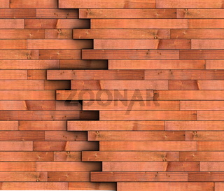 abstract view of wooden boards forming wall texture