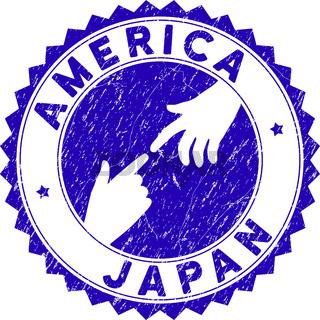 Grunge Connecting America Japan Round Stamp