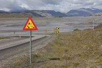 Dangerous curve on the ring road, Iceland