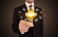 Businessman holding a light bulb, social media concept
