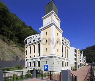 Parking in the Rosa Khutor Alpine Resort. Krasnaya Polyana.