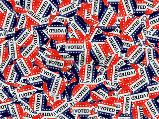 Red white and blue I Voted button background.