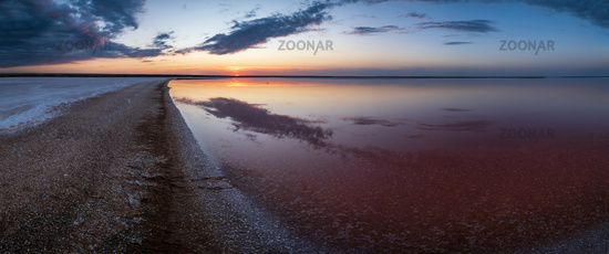 Sunset Genichesk pink  salty lake, Ukraine