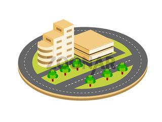 City isometric houses