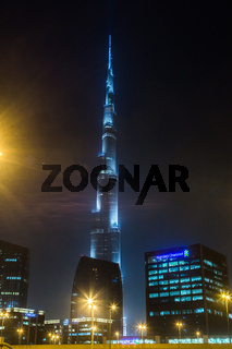 View on Burj Khalifa, Dubai, UAE, at night
