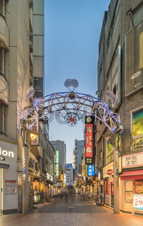 Illuminated entrance gate of the Sunshine Central Street connecting the east exit of Ikebukuro