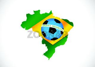 Brazil Map and Soccer ball 2014
