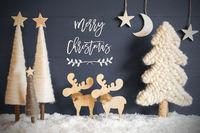 Christmas Tree, Moose, Moon, Stars, Snow, Text Merry Christmas