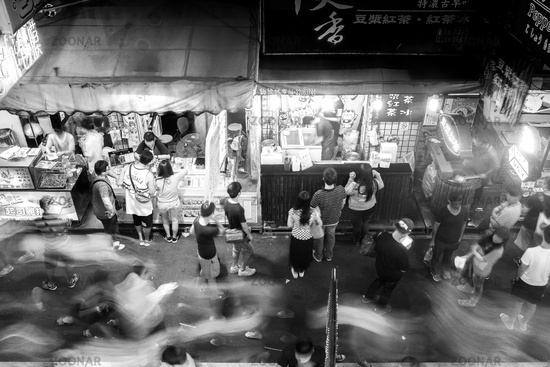 People Shopping at Fast Food Stalls Night Market, Taichung, Taiwan, Asia
