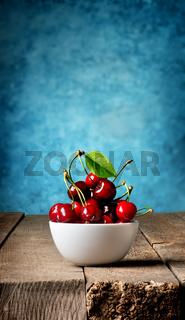 Cherries in plate
