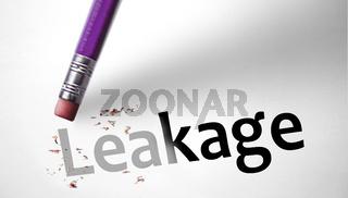 Eraser deleting the word Leakage