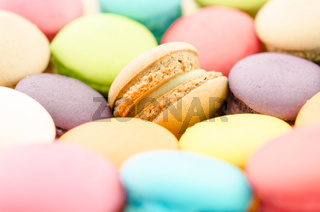 traditional french colorful macarons.
