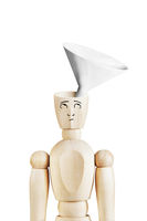 Man with a funnel in the empty head. Abstract image with wooden puppet