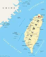 Taiwan, Republic of China, Political Map