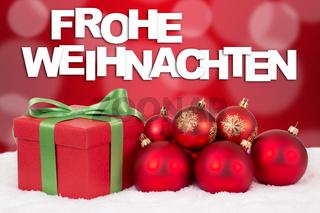 Frohe Weihnachten Weihnachtskarte Weihnachtsgeschenke Geschenke mit rote Weihnachtskugeln