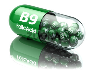 Pills with b9 folic acid element. Dietary supplements. Vitamin capsules.