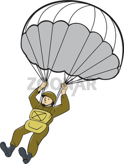 American Paratrooper Parachute Cartoon