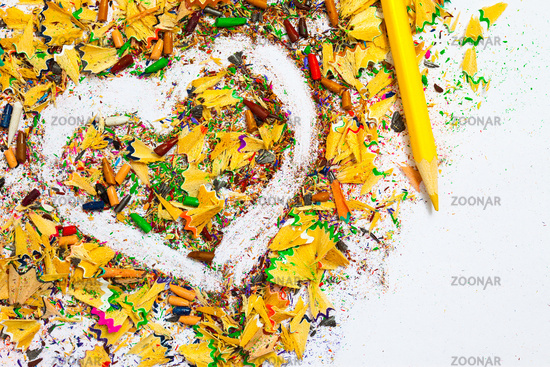 heart, yellow pencil and wood shavings