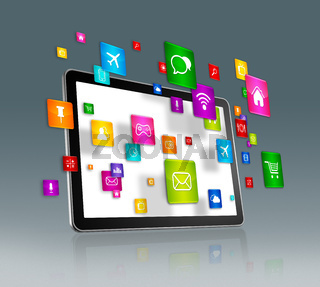 Digital Tablet and flying apps icons