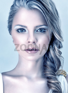 Fashion model with winter makeup
