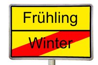 Winter comes Spring comes road sign