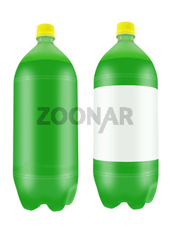 Green soda drink in two liter plastic bottles.