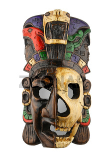 Mexican Mayan Aztec ceramic painted mask isolated on white