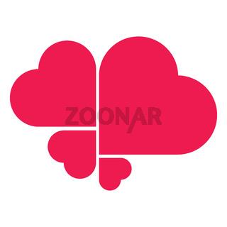 Four Red Heart symbol made as logo