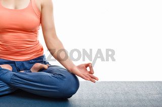 Close up yoga asana Padmasana Lotus pose
