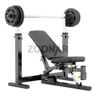 gym adjustable weight bench with barbell isolated on white background