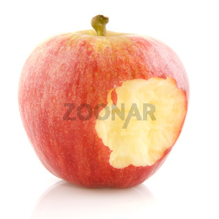 Eating a red apple