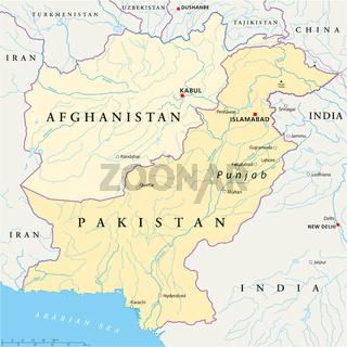 Afghanistan und Pakistan Landkarte