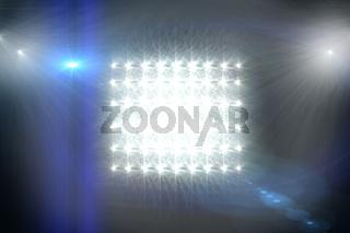 Digitally generated image of Spotlights against black background