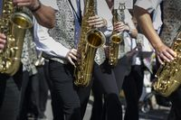 Saxophone player in a brass band